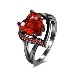 Wholesale Trendy Black Gold Filled Rings for Women Cute Heart shaped Cut Red Cubic Zirconia Jewelry Gift Wedding Rings