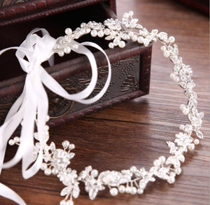 Wholesale Handmade hair with Korean simple alloy diamond crystal beads beads hair accessories headwear wedding dressHand ornament white headband wed