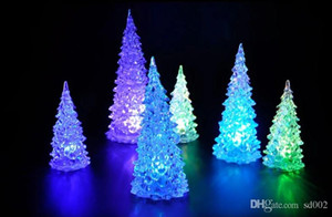 Wholesale Modern Mini LED Lights Colorful Christmas Trees Shape Night Lamp Crystal Plastic Acrylic Light Home Party Gift Decor zj dd