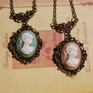 Wholesale 6pcs Victorian Style Beauty Mary Pendant Necklace Pink Blue Cameo Necklace Long Pendants Necklaces XL064