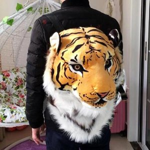 Wholesale Funny Simulation Animal Head Backpack New Cool Luxury Tiger Head White Tiger Style Bag Knapsack Backpack Bags