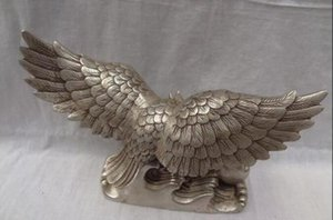 Wholesale Chinese Silver Bird Sculpture Fu Fly Eagle Hawk Bronze King Of Birds Statue