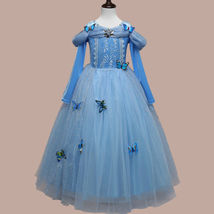 Popular Halloween Cinderella Birthday dress long sleeves dress Girls Frozen performing big hair skirt
