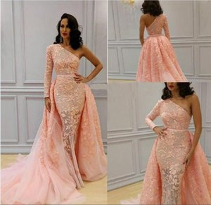One Shoulder Pink Appliques Overskirt Evening Dresses With Long Sleeve Formal Party Gowns Custom Made Court Train African Prom Dresses Long on Sale