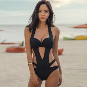 Wholesale Beach swimwear sexy hollow one piece black swimsuit female hot spring fashion small chest gathered bikini