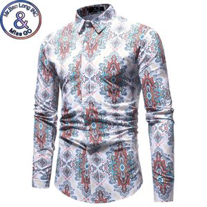 Wholesale Mens Slim Fit Long Sleeve Dress Shirt New Fashion Traditional Floral Print Shirt Men Spring Autumn Brand Casual Shirts XL