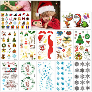 Wholesale Christmas Temporary Tattoos Kit Merry Christmas Happy New Year Body Art Waterproof Stickers for Kids Party Santa