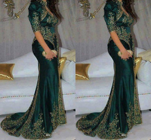 Wholesale Gorgeous Dark Green Evening Dresses Embroidery Beaded Sequin Indian Style Half Sleeve Prom Gowns High Neck Mermaid Party Dress
