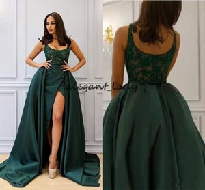Wholesale Hunter Green Overskirts Dresses Evening Wear Scoop Appliques Crystal Sheath Long Formal Arabic Dubai Prom Party Gowns Vestidos