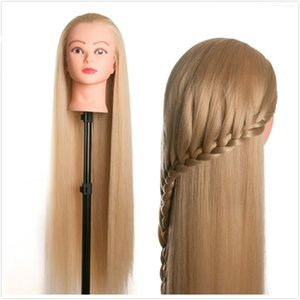80cm hair female mannequin head hairstyles Hairdressing Styling Training head for hairdressers dolls on Sale
