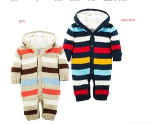 Baby Rompers Thickened Winter Striped Knitted Sweater Warm Jumpsuit for Baby Girl Boy Hooded Outwear Kids Newborn Clothes