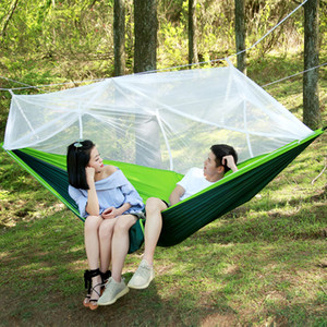 Wholesale 12 Colors cm Hammock Fashion Handy Portable Parachute Fabric Double Mosquito Net Hammock Hanging Beds for Indoor Outdoor Camping