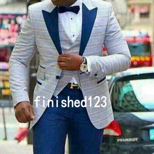 New Style Groom Tuxedos One Button Light Blue Plaid Peak Lapel Groomsmen Wedding Mens Blazer Party Suits (Jacket+Pants+Vest+Tie) J708