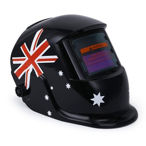 Wholesale British Flag Pattern Skull Welding Mask Solar Auto Darkening MIG MMA ElectricHelmet welder Cap Welding Lens for Welding Machine