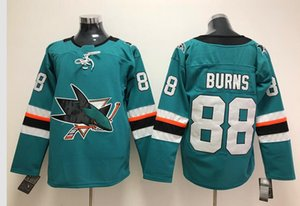 Wholesale New San Jose Sharks Jerseys Burns New Brand Hockey Jerseys Teal Green Color Size M XXXL Mix Order High Quality All Jerseys