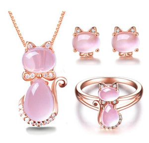 Wholesale Rose Gold Color Cute Cat Ross Quartz Pink Opal Jewelry Necklace ring sets for Women Girls Children Gift Choker