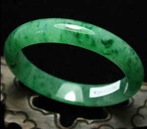 59mm Certified Emerald icy Green Jadeite Jade Bangle Bracelet Handmade G04