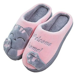 Wholesale Oeak Women Winter Home Slippers Cartoon Cat Shoes Non slip Soft Winter Warm House Slippers Indoor Bedroom Lovers Couples Floor