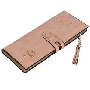 Wholesale Fashion Womens Lady Leather Card Holder Long Wallet Clutch Checkbook Zip Handbag Purse Red Blue Pink Black