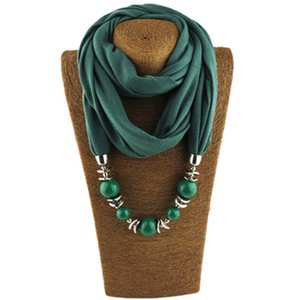 Wholesale Fashion Ethnic Polyester Solid Collar Tassel Gorgeous beads pendants jewelry Necklace Jewelry Ring Scarf Women Shawl Scarves Hot