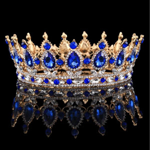 Wholesale Awesome Wedding Bridal Crown Pageant Full Circle Tiara Clear Austrian Rhinestones King Queen Crown Costume Party Art Deco