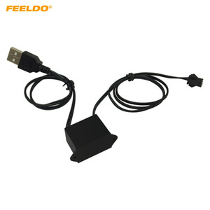 FEELDO DC12V Car LED Decoration EL Fibre Neon Glow Lighting Rope Strip Power Driver Inverter With USB Port #5720
