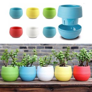 40PCS 7x6.5cm Cute Round Home Garden Office Decor Planter Plastic Plant Flower Pots