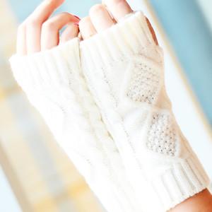 Fashion Winter Short Arm Fingerless Gloves Solid 20CM Knit Warmer Spring Wool Mitten Knitting Gloves D18110806