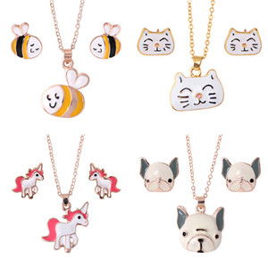 Animal Jewelry Set Chain Kids Jewelry Cartoon Horse Dog Bee Necklace Earrings jewelry Sets For Girls Gifts wholesale