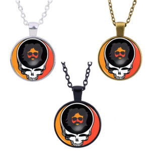 Grateful Dead Skull Band Necklace Pendant Glass Cabochon Accessories Creative Unisex Jewelry Gifts
