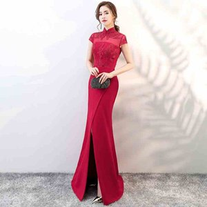 Wholesale Top Fashion Satin Evening Dress Front Split Mermaid Evening Gowns Modest High Sheer Neck Prom Dress Women Party Dress Zipper Back D24