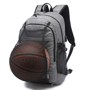 Wholesale Men Outdoor Sport Gym Backpack Teenager Boys School Bags Male USB Charging Laptop Bag Soccer Ball Pack Football Basketball Net