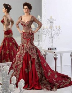 Wholesale Crop Top Two Pieces prom dress Mermaid Sweetheart 2019 Indian Jajja-Couture dubai arabic Burgundy prom Gowns with Sleeves long Lace
