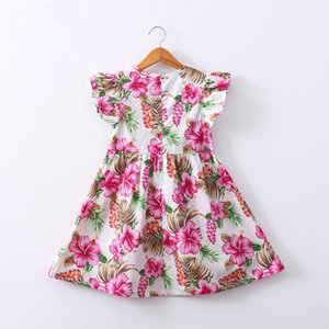 Wholesale Print floral summer dress baby girls Sleeveless children short dress party princess dresses Kids Clothes Vestidos
