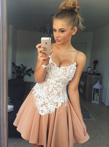 Wholesale 2018 New Special Design Spaghetti Straps Short Homecoming Dresses Champagne White Lace Appliqued Mini Cocktail Party Gowns Cheap