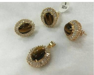 Wholesale nicest noble mm red tiger eye stone earrings ring pendant with chain jewerly sets