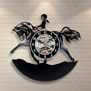 Wholesale Riding Horse Vinyl Wall Clock Active Hobby Gift for Girls Home Decor Handmade Art Personality Gift Size inches Color Black