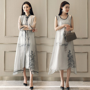 Women Summer Vintage Dress ancient pattern Elegant long gown Ink painting Chinese Style Retro Dress Party Feminino Vestidos