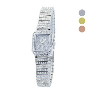 Wholesale Wristwatch Rhinestones Clock Square Quartz Dress Watch Band Crystal Stainless Steel Luxury Bracelet Watches For Women Girl Gift