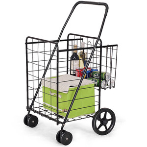 Wholesale Folding Shopping Cart Jumbo Basket Grocery Laundry Travel w Swivel Wheels New