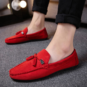 New Men's Breathable Walking Shose Oudtoor Comfortable Soft Shoes Flats Male Students Black Red Non-Slip Date Shoes Footwears