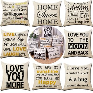 Love You More Pillow Case Linen Letter Throw Pillow Case Cover Home Sofa Car Cushion Cover Home Decor Xmas (18*18inch) 17 Designs HH7-1392