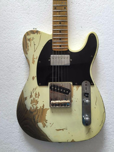 Free shippingGood quality Relic TL electric guitar brass saddles aged hardware humbucker neck pickups ASH body