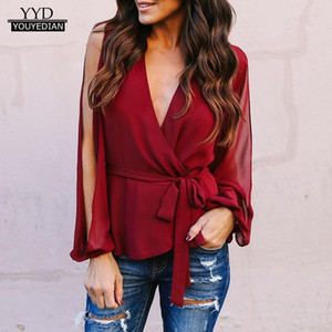 Wholesale Tops for Women Fashion Womens Long Sleeve Casual Bow V Neck Loose Blouse Top Work Shirts Clothes camisas mujer verano