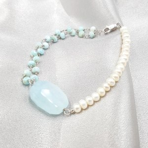 Wholesale Lii Ji Natural Gemstone Aquamarine Larimar Freshwater Pearl Sterling Silver Clasp Shining Unique Bracelet For Women Girls