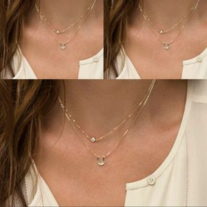 Wholesale Fashion Double Layered Necklace Alloy Diamond With Horseshoe Pendant Necklace For Sister Friends Jewelry Gift Support FBA Drop Shipping H19R