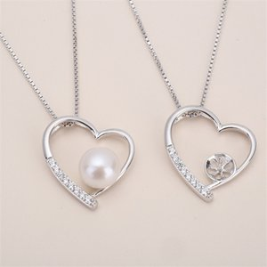 Wholesale Best Deal zircon solid sterling silver pendant setting heart pattern pendant mounting necklace blank for pearl jewelry DIY gift DIY
