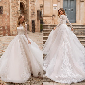 Naviblue 2019 Dolly Modest Long Sleeves Wedding Dresses Ball Gown Bateau Neck Lace Appliqued Bridal Gowns Court Train Plus Size vestido