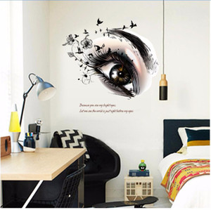 Wholesale 2017 New Big Eye Art Wall Sticker Beauty Salon DIY Vinyl Removable Home Decor Stickers Living Room Poster Eyebrow Shop Decals