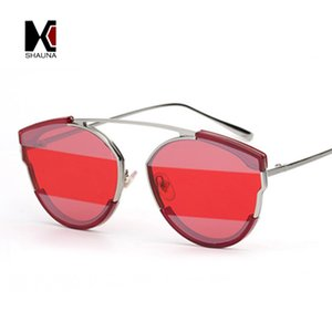 Wholesale Unique Stripe Lens Women Cat Eye Sunglasses Fashion Men Single Bridges Purple Red Sun Glasses UV400